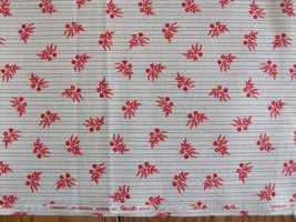 """VINTAGE 44"""" WAMSUTTA HOME DECORATING FABRIC ~ 3 YARDS ~ TINY RED FLOWERS... - $11.87"""