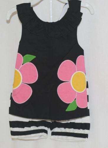 Mud Pie Summer Black White Pink Flower Shirt Shorts Set Size 3T