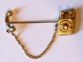 Avon Telephone Stick Pin Rotary Dial Phone Gold Tone Chatelaine Chain 19... - $19.75