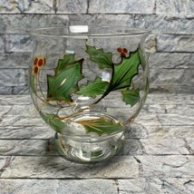 Lenox Holly Holiday Handpainted Glassware Hurricane Votive Candle Holder  - $17.81