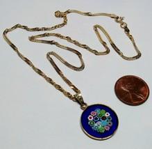 14K Yellow Gold on Sterling Silver Italian Murano Millefiori Pendant Nec... - $29.59