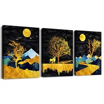 Outer Space Starlight Scenery golden Abstract Landscape Painting Wall Ar... - $39.24