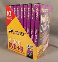 10-Pack Memorex DVD+R Video Recordable Discs 4.7 GB with Plastic Cases S... - $21.99