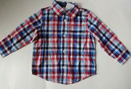 Gymboree Boys Red Blue White Check Plaid Button Down LS Shirt 18-24mos - $9.74