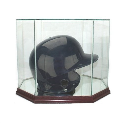 Perfect Cases Glass Batting Helmet Octagon Display Case with Mirror