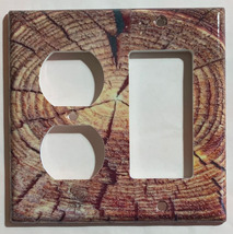 Circle Wood Photo image Light Switch Outlet wall Cover Plate Home decor image 5