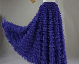 Purple Tiered Tulle Skirt Polka Dot Layered Long Tulle Skirt US0-US24 image 3