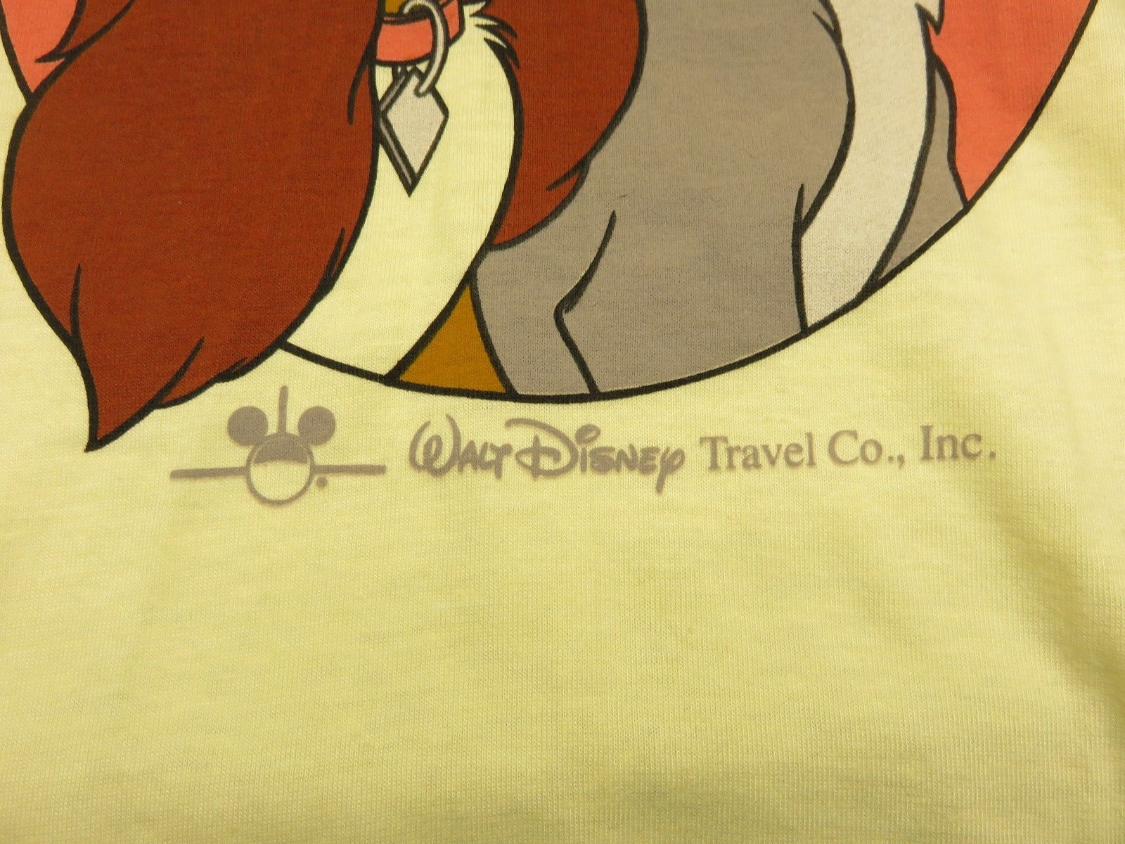 80cce74c 90s Yellow Walt Disney World Lady & The Tramp Graphic T-Shirt Adult Sz XL