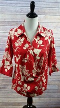 Talbots Woman Stretch 3/4 Sleeve Wrap Top Red White Floral Size 14W - $16.35