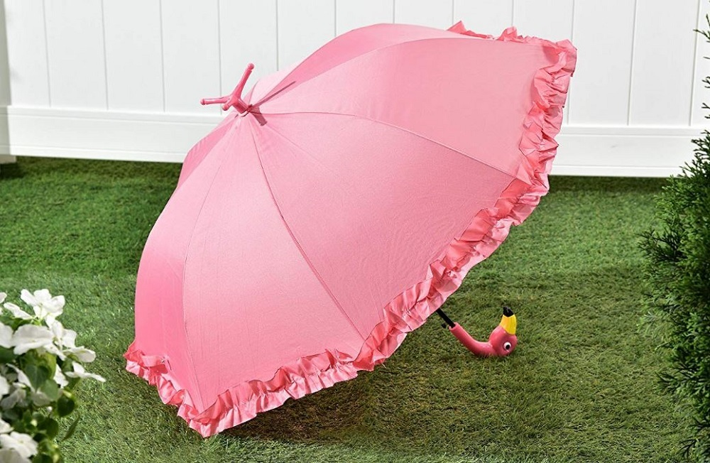 Pink Flamingo Umbrella Frilly Parasol Stay Dry Clothing Accessory Freestanding