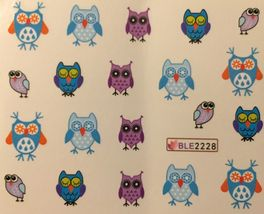 BANG STORE Nail Art Water Decals Cute Snow Owls Winter Holidays Christmas Blue - $2.12