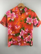 Vtg Richard Douglas Hawaiian Shirt Orange Aloha 2 Pocket Womens Honolulu... - $43.56