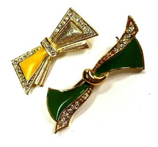 Vintage Bow Pins Brooches Lot of 2 Rhinestone Enamel colorful decco insp... - $11.87