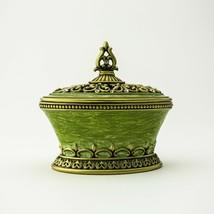 Green Trinket box hand made by Keren Kopal & Austrian crystals Faberge - $58.50