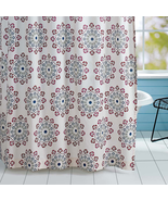 Antigua shower curtain Creme, Magenta, Blue Topaz - $52.00