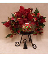 Party Lite CANDLE HOLDER STAND SNUFFER with RED & GREEN CANDLE & Poinset... - $24.74