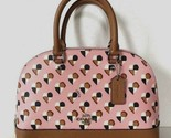 New Coach 25916 mini Sierra Satchel Checkers Heart PVC print handbag Blush multi