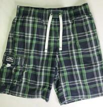 Tommy Hilfiger Premium Swim Trunks Medium Blue Green White Plaid M Shorts - $17.82