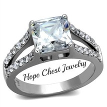 HCJ WOMEN'S STAINLESS STEEL 2.9 CT PRINCESS CUT BRIDAL CZ ENGAGEMENT RIN... - $17.49