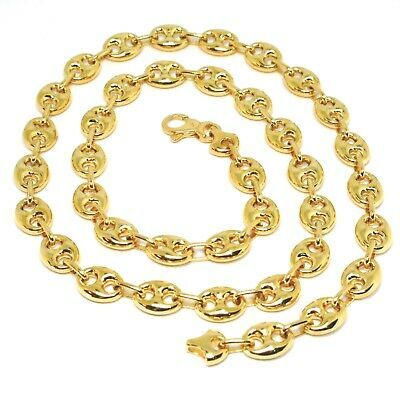 18K YELLOW GOLD MARINER CHAIN BIG OVALS 10 MM, 24 INCHES ANCHOR ROUNDED NECKLACE