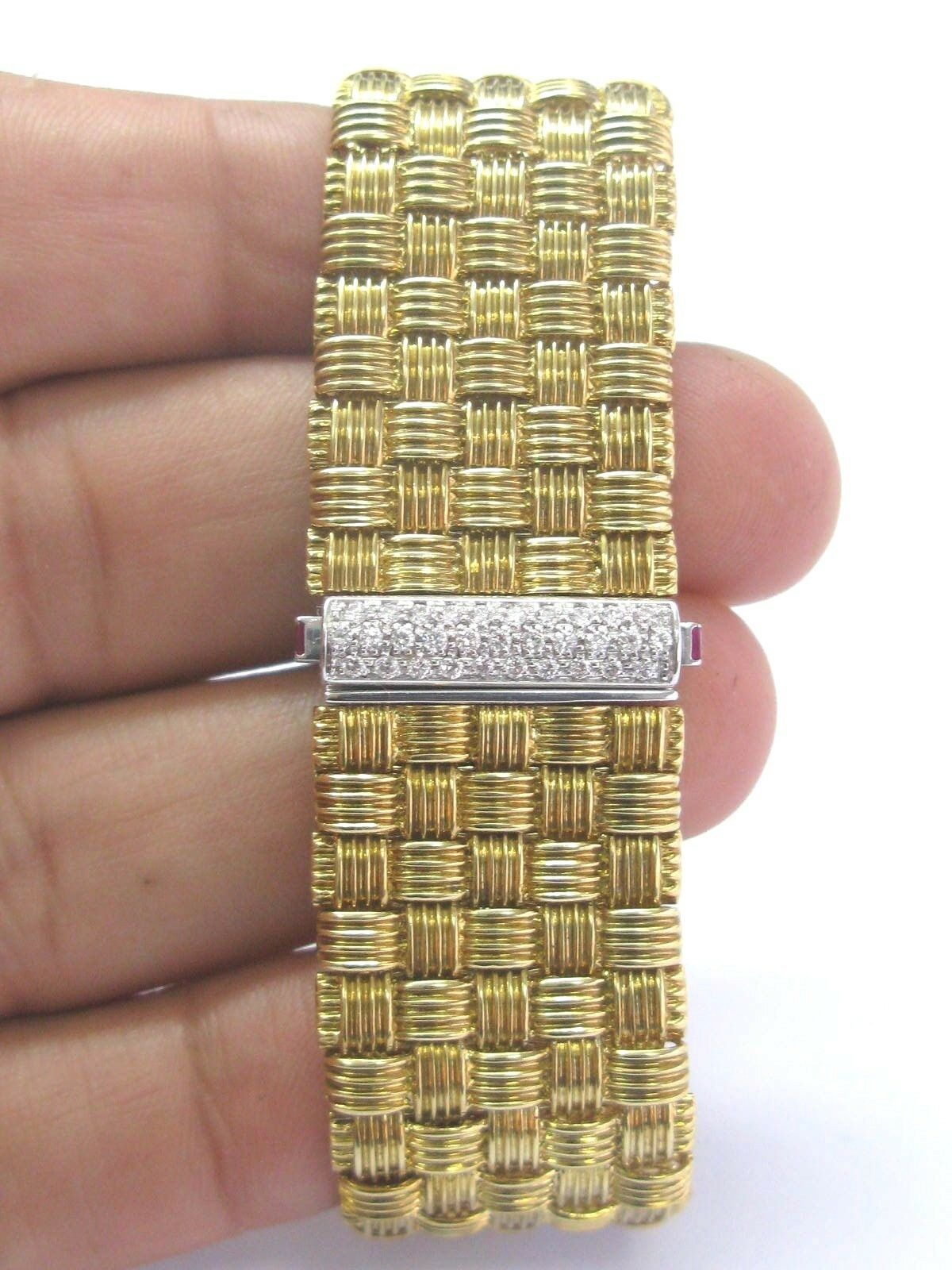 Roberto Coin 18Kt 5-Row Yellow Gold Appassionata Diamond Bracelet .39Ct image 5