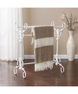 Vintage White Scroll Quilt Rack Stand Blanket Coverlet Storage Display E... - $81.08