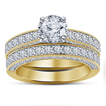 Designer Bridal Diamond Ring Set 14k Yellow Gold Finish 925 Sterling Rea... - $96.99