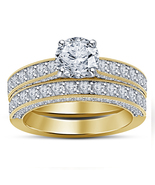 Designer Bridal Diamond Ring Set 14k Yellow Gold Finish 925 Sterling Rea... - $96.99