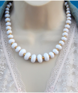 NAPIER White Necklace, White and Gold Necklace Lucite Beaded Choker, Vin... - $49.00