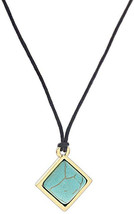 KC Gifts Simulated Turquoise Stone Necklace on 20' Black Cord - $38.06