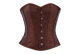 Sexy Brown Flower Texture Faux Leather Gohtic Steampunk  Basque Overbust Corset  - $55.77