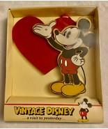 VNTG Disney MICKEY MOUSE Kurt Adler Wood VALENTINE'S Ornament **NEW IN B... - $21.99