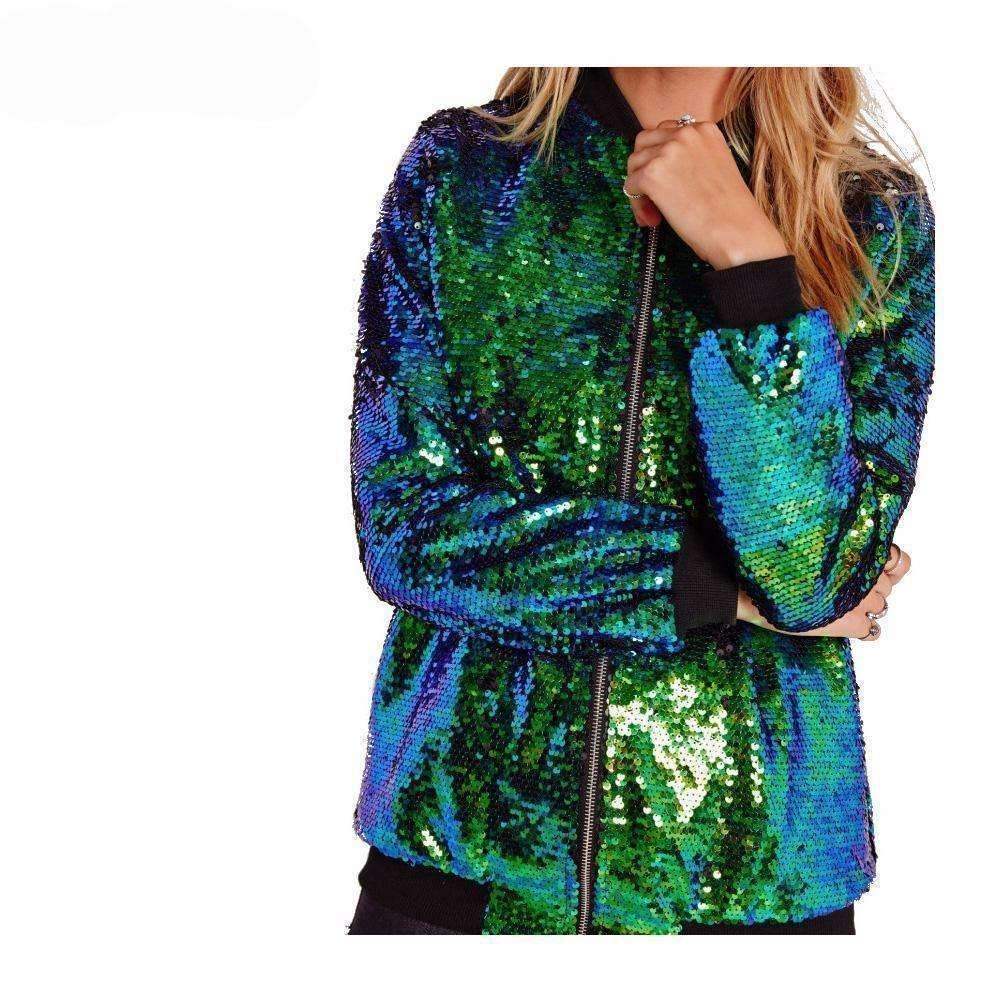 Haoyihui moda store basic jackets cool glittered sequins women jacket 1389209092127