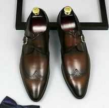 Handmade Men Brown Leather Wing Tip Monk Strap Dress/Formal Shoes image 3