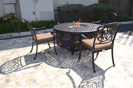 """Outdoor propane fire pit 5 piece set 52"""" round table 4 Elisabeth dining chairs image 2"""