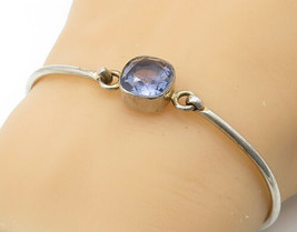 HARIBOU 925 Silver - Vintage Faceted Amethyst Hooked Bangle Bracelet - B... - $33.19