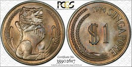 1974 Singapore $1 Dollar BU PCGS MS66 Color Toned Coin None Graded Higher - $71.73