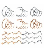 MODRSA 20G 42pcs Nose Rings Hoop L-Shaped Nose Rings Studs Screw Stainle... - $17.06