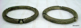 vintage antique ethnic tribal old silver bangle bracelet pair set 2pc - $186.12