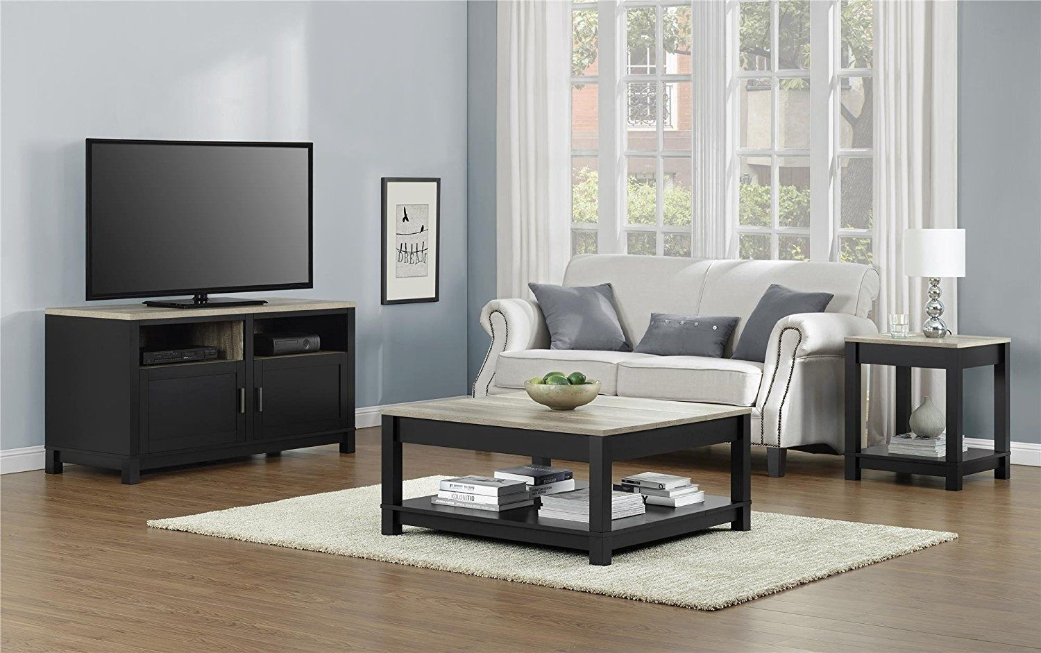 Altra Furniture Carver Coffee Table Living Room Black Square Box Shaped Cube