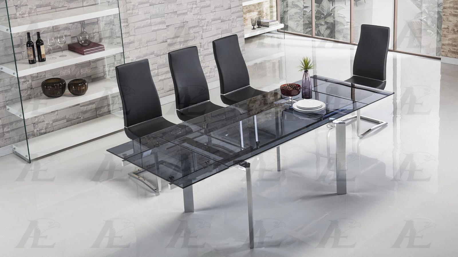 American Eagle Tl 1134s Bl Smoked Gl Top Extendable Dining Table Chrome Legs