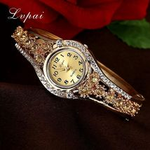 Lvpai® Luxury Watch Women Gold Flower Casual Quartz Crystal Dress Vintage Wrist image 4