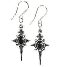 Alchemy Gothic Sterne Leben Earrings Black Crystal Cross Star Dangling E431 New - $20.95