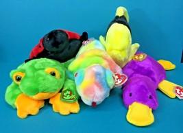 Ty Beanie Buddy Plush Stuffed Animal Lot Smoochy Lucky Patti Bubbles Rainbow NWT - $25.95