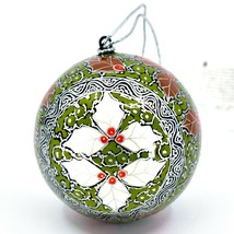Asha Handicrafts Painted Papier-Mâché Green Holly Holiday Christmas Ornament