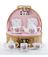 Delton Child's Porcelain Tea Set in Basket, Laura Rose 8117-6 - $39.19