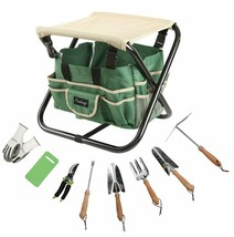 Finnhomy 10 Piece All-In-One Garden Tool Set Garden Folding Stool Seat W... - £39.52 GBP