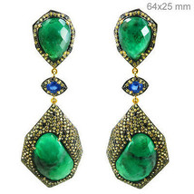 Emerald Gemstone Silver Sapphire Diamond Pave Dangle Earrings Gold Vintage Look - $1,185.78