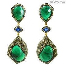 Emerald Gemstone Silver Sapphire Diamond Pave Dangle Earrings Gold Vinta... - $1,185.78