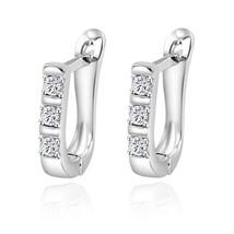Fashion Crystal Stud Earrings For Women Push Back Closure Zinc Alloy Met... - $7.98